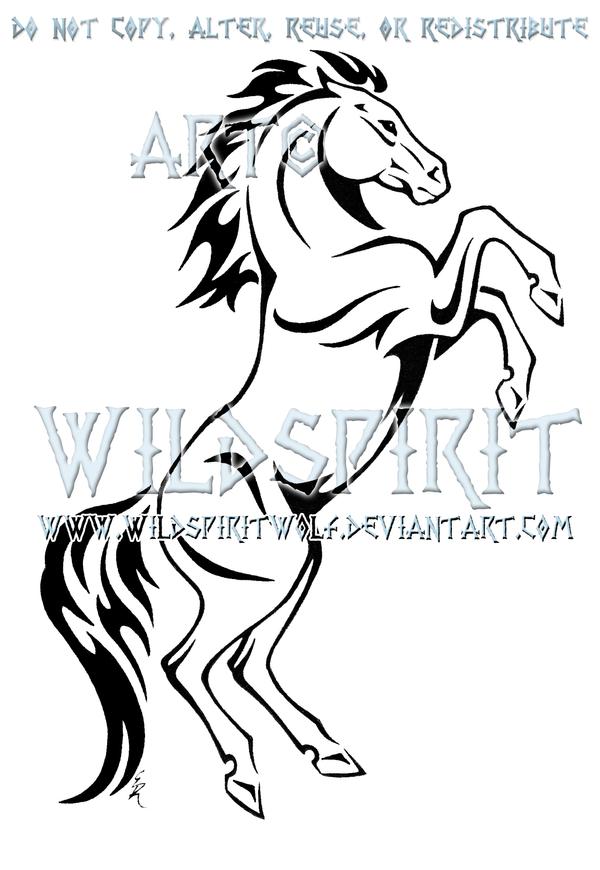 Rearing Horse Tribal Design by WildSpiritWolf