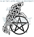 Celtic Howling Wolf And Pentacle Design
