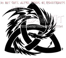 Tribal Dragon And Trinity Knot Design by WildSpiritWolf