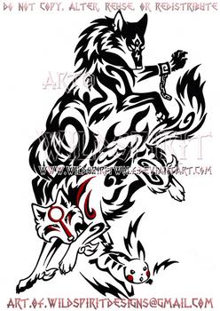 Wolf Link, Amaterasu, + Pikachu Design by WildSpiritWolf