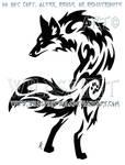 Alert Paw Print Fox Tribal Design