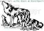 Tribal Wolf Family Design
