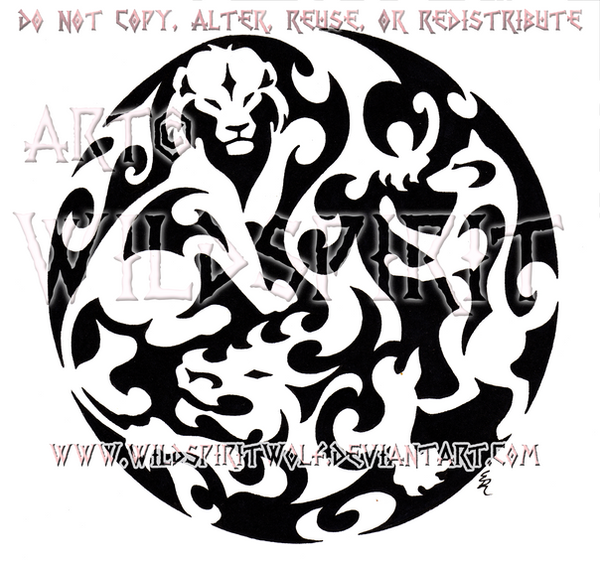 Dragon Lion Dog Medallion Design by WildSpiritWolf