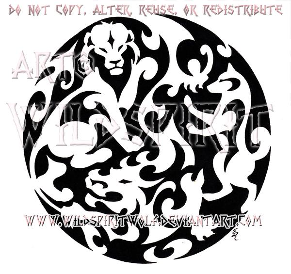 Dragon Lion Dog Medallion Design by WildSpiritWolf