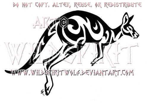 Kangaroo Tribal Design by WildSpiritWolf