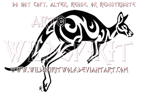Kangaroo Tribal Design by WildSpiritWolf