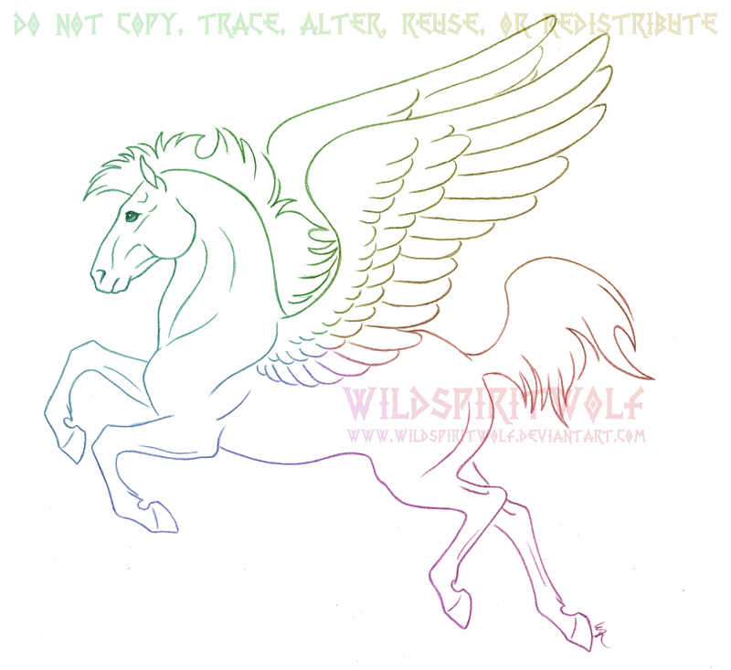 Flying Pegasus Sketch Commission By WildSpiritWolf On