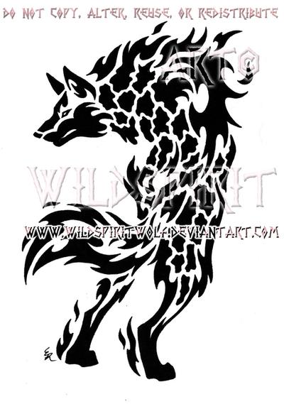 Alert Magma Wolf Design by WildSpiritWolf