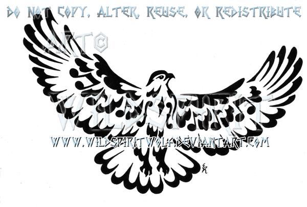Musical Note Tribal Hawk Tattoo by WildSpiritWolf