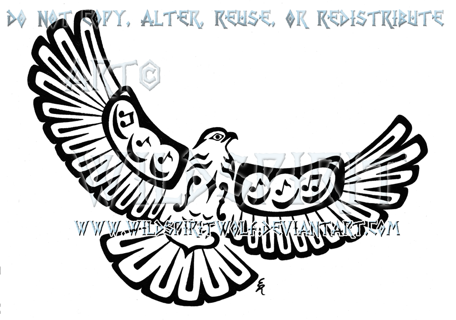 Musical Pacific Northwest Hawk Tattoo by WildSpiritWolf