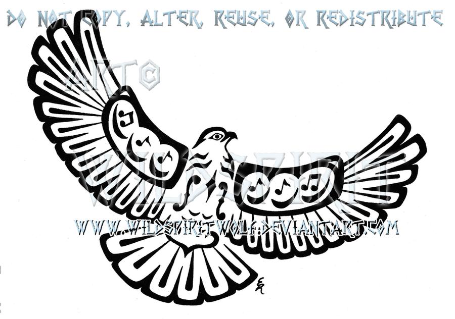 Musical Pacific Northwest Hawk Tattoo by WildSpiritWolf