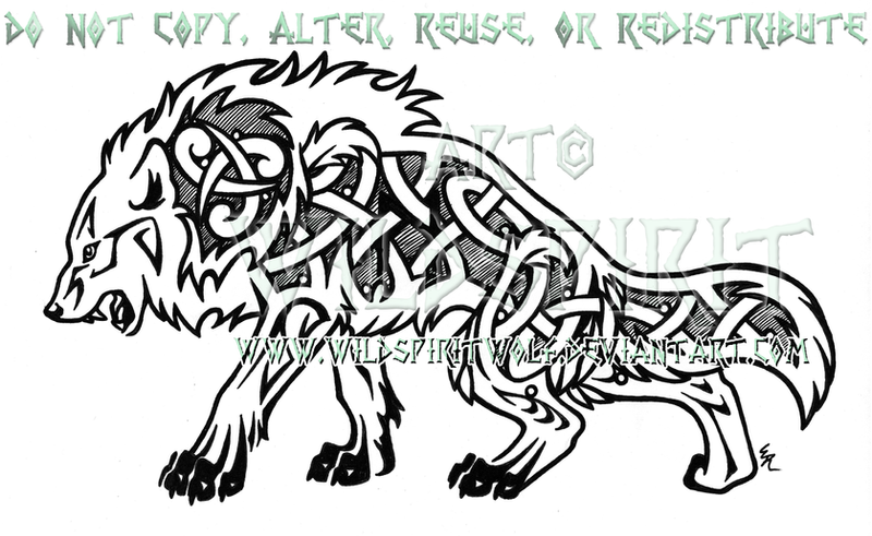 Fierce Nordic Dire Wolf Design by WildSpiritWolf