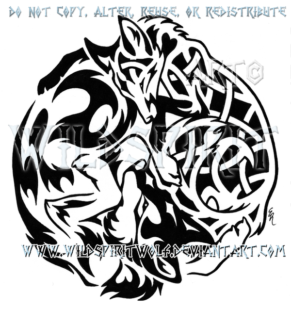 Tribal Wolf + Knotwork Fox Design by WildSpiritWolf