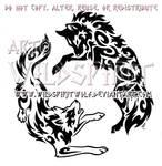 Yin Yang Aggressive Wolves Tribal Design