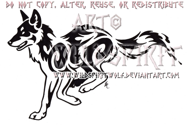 Running Red Wolf Tribal Design by *WildSpiritWolf on deviantART