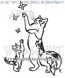 Playful Calico Cat And Kitten Design by WildSpiritWolf
