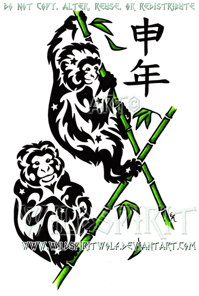 Year Of The Monkey Tribal Design by WildSpiritWolf