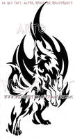 Standing Howling Flame Wolf Design