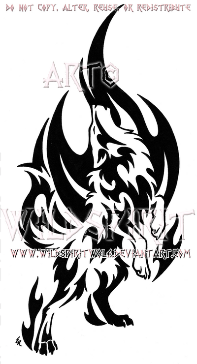 Standing Howling Flame Wolf Design by WildSpiritWolf