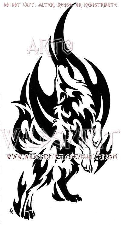 Standing Howling Flame Wolf Design by WildSpiritWolf