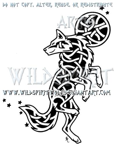 Celestial Knotwork Dancing Wolf by WildSpiritWolf