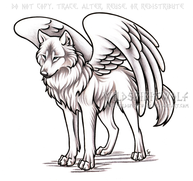 Winged Alpha She-Wolf Commission by WildSpiritWolf on