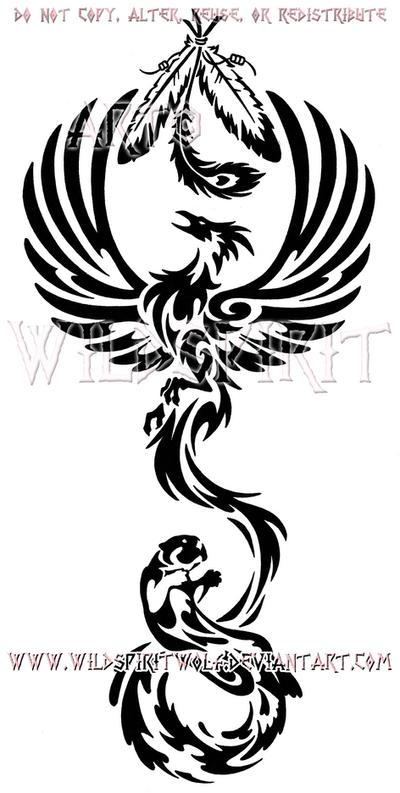 Phoenix And Otter Tribal Design by WildSpiritWolf