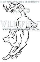 Frolicking Music Wolf Design by WildSpiritWolf