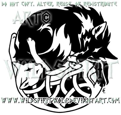 Tribal Fox Knotwork Cat Design by WildSpiritWolf