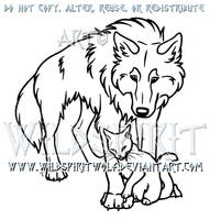 Wolf And Cat Lovers Lineart Commission by WildSpiritWolf