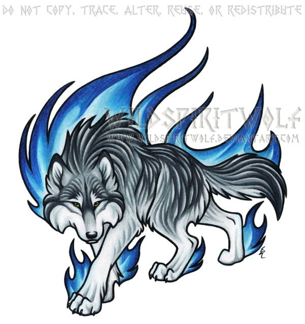 Prowling Blue Flame Wolf Commission by WildSpiritWolf