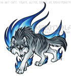 Prowling Blue Flame Wolf Commission