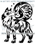 Starry Wolf And Indian Moon Design