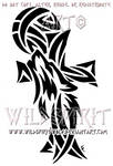 Howling Wolf And Cross Design