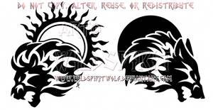 Sun Lion And Moon Wolf Design Set