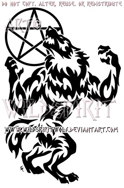 Tribal Werewolf And Pentacle Moon Design by WildSpiritWolf