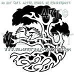 Tree Of Life And Crane Knotwork Design
