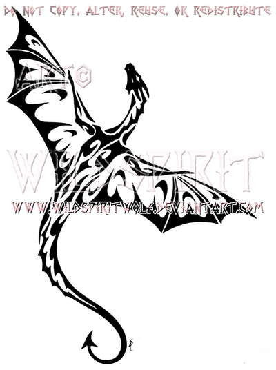 Tek Dragon Tribal Design by WildSpiritWolf