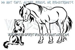 Horse And Wolf Nuzzle Design by WildSpiritWolf
