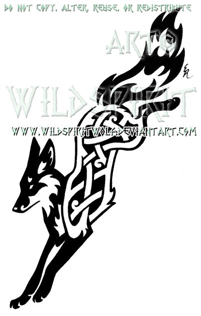 Knotwork Leaping Fox Design by WildSpiritWolf