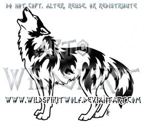 Victorious Howl Tribal Wolf Design