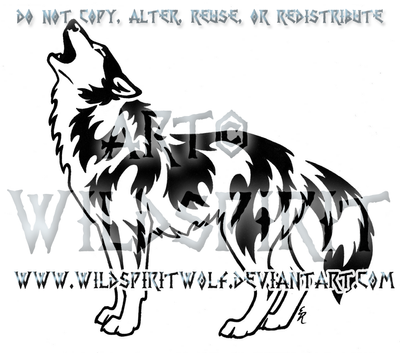 Victorious Howl Tribal Wolf Design by WildSpiritWolf