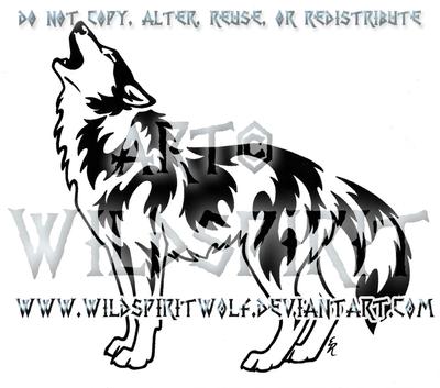 Victorious Howl Tribal Wolf Design by WildSpiritWolf