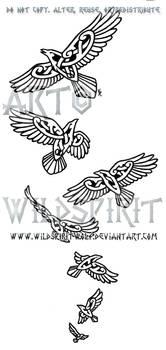 Seven Knotwork Ravens Design