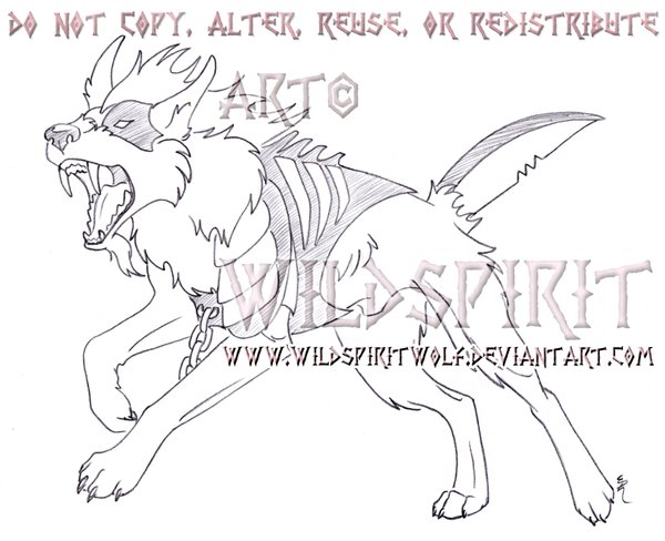 Attacking Jigsaw Wolf Sketch Commission by WildSpiritWolf