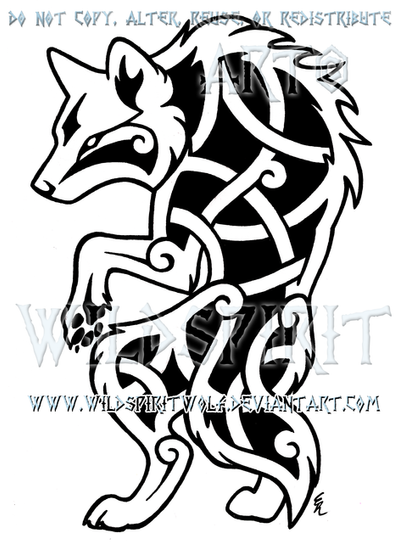 Stylized Lycan Knotwork Design by WildSpiritWolf