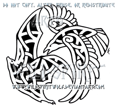 Raven And Fruit Bat Knotwork Design by WildSpiritWolf