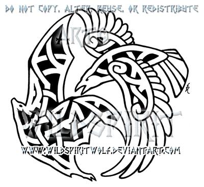 Raven And Fruit Bat Knotwork Design by WildSpiritWolf