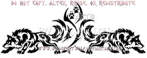Dual Prowling Wolves Tribal Design