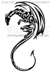 Vertical Tribal Dragon Design by WildSpiritWolf